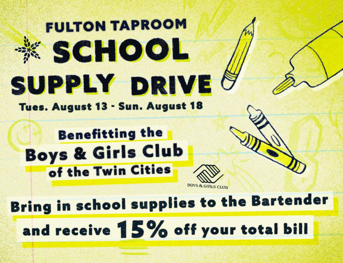 Fulton Taproom School Supply drive
