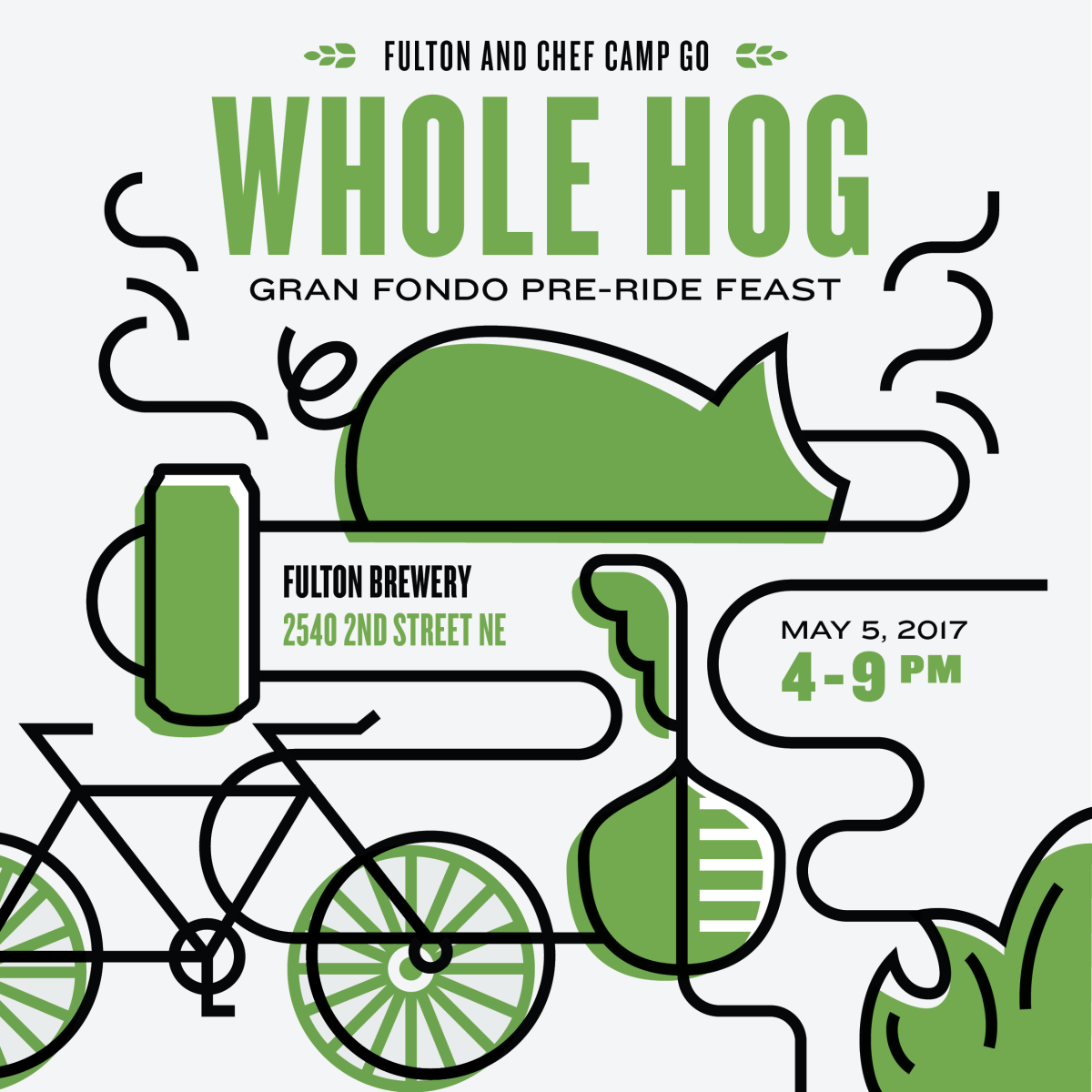 "Fulton & Chef Camp go ""Whole Hog"" (a pre-fondo feast)"